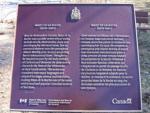 mazo de la roche historical plaque